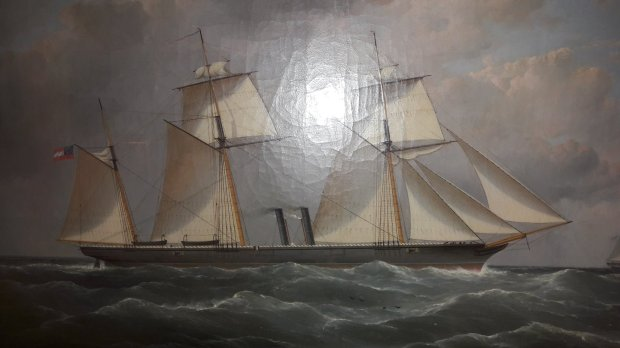 The CSS Florida in Liverpool bay 1862. The painting hangs in the Merseyside Maritime Museum in Albert Dock.